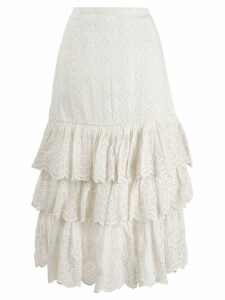 Love Shack Fancy Becky broderie anglaise skirt - White