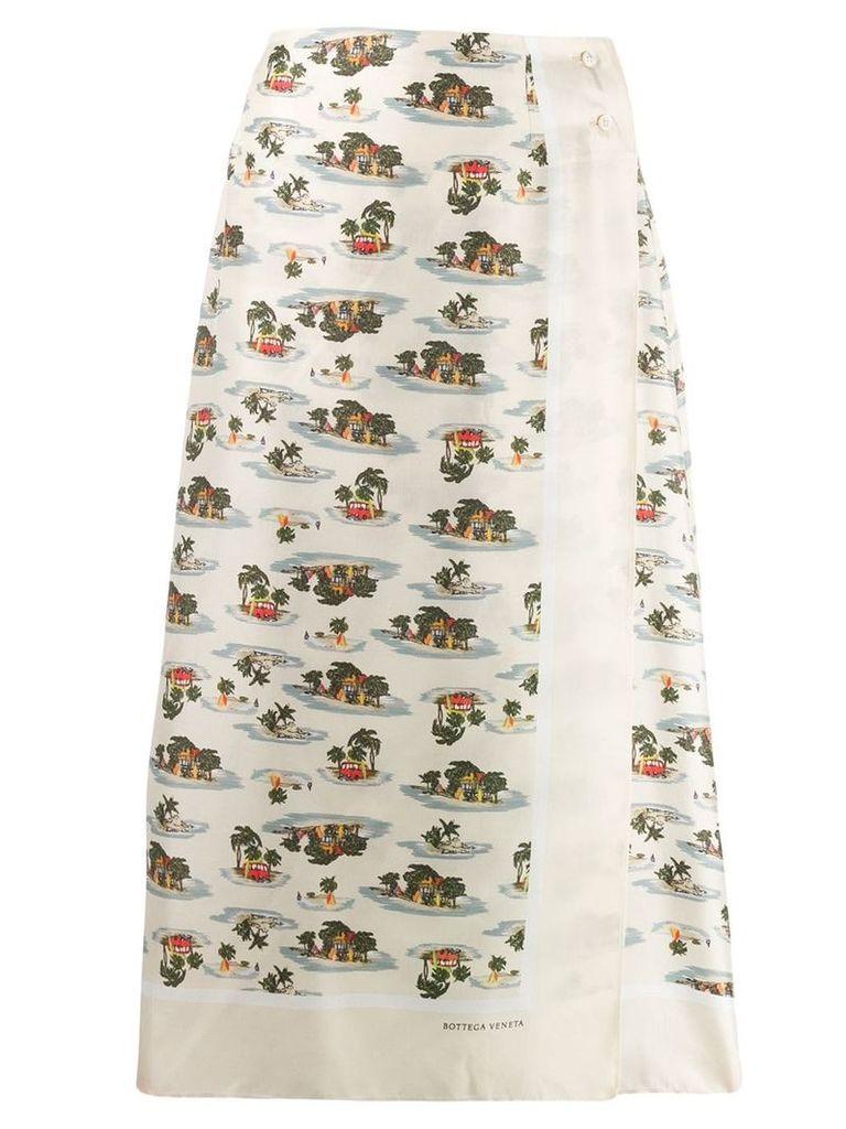 Bottega Veneta tropical print midi skirt - Neutrals
