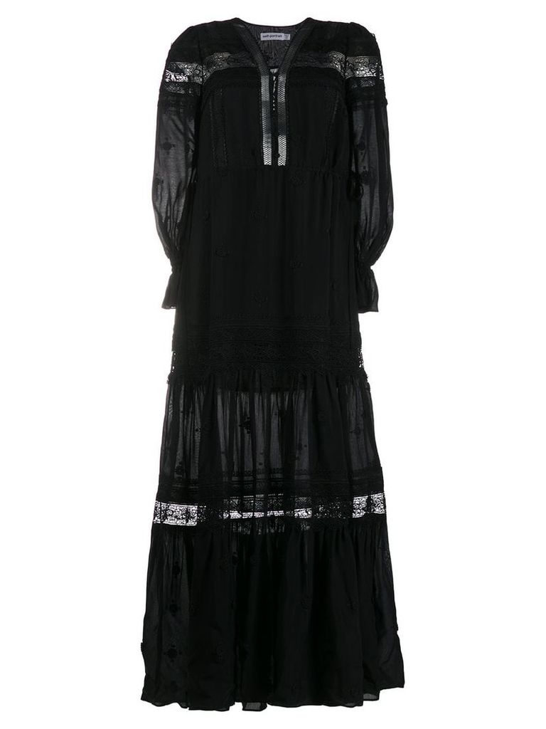 Self-Portrait lace panel maxi dress - Black