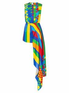 Halpern Pixel print asymmetric dress - Multicoloured