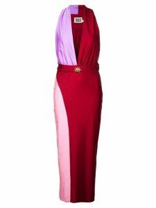 Fausto Puglisi satin plunging-neckline dress - Red