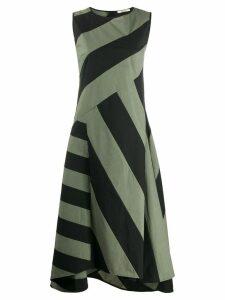 Odeeh striped asymmetric dress - Black