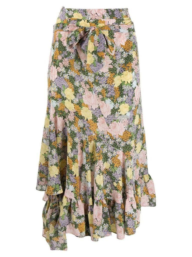 Rokh floral print asymmetric skirt - Green