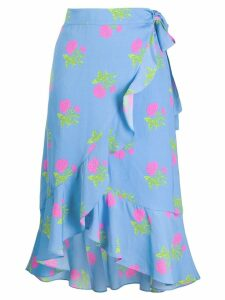 Essentiel Antwerp floral print wrap skirt - Blue