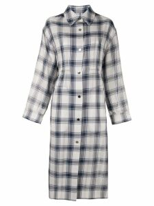 Le Ciel Bleu checked single breasted coat - Grey