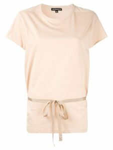 Ann Demeulemeester short sleeved t-shirt with belt - Neutrals
