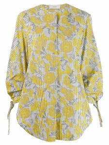 Pringle Of Scotland oversized striped floral shirt - Yellow