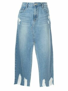 SJYP destroyed hem denim skirt - Blue
