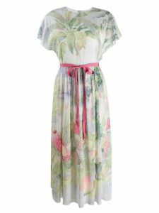 Red Valentino floral ribbon tea dress - Green