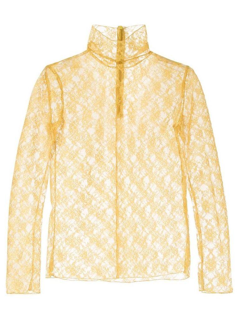 Le Ciel Bleu turtleneck lace top - Yellow