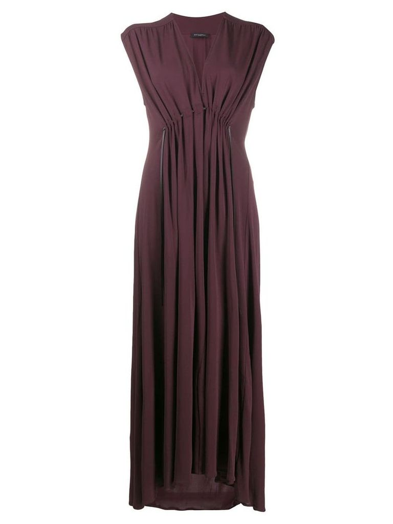 Antonelli long pleated dress - Brown