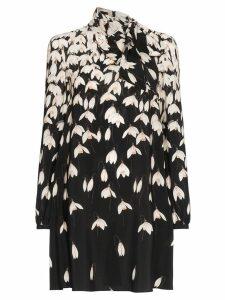 Valentino Floral Print Scarf Neck Silk Mini Dress - K92 Multicoloured