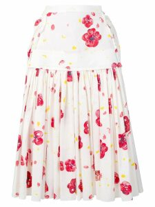 Marni poppy print skirt - White