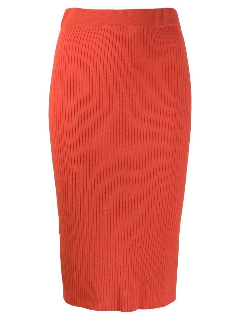 Cashmere In Love ribbed pencil skirt - Orange