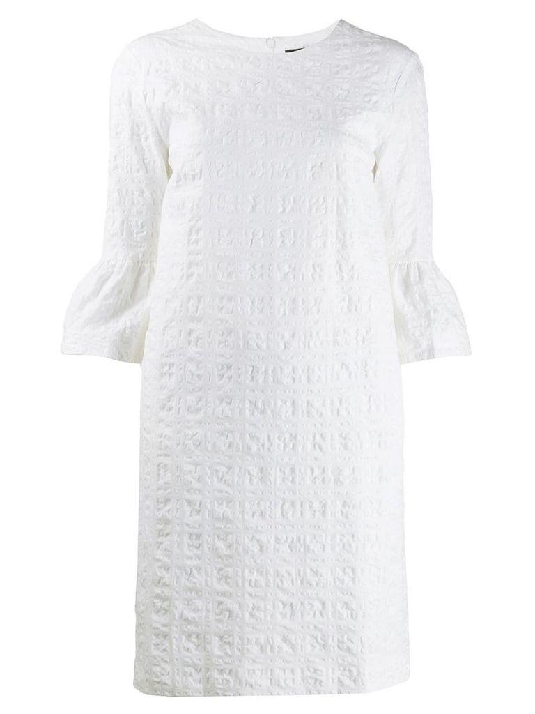 Antonelli textured puff sleeve dress - White