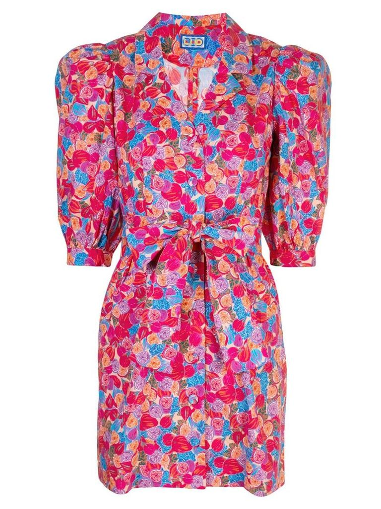 Lhd floral print belted shirt dress - Pink
