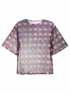Reality Studio check sheer T-shirt - Purple
