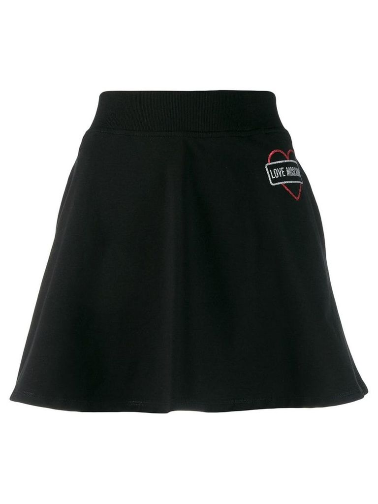 Love Moschino glitter logo skirt - Black