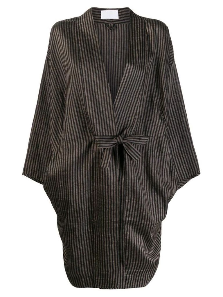 Reality Studio striped loose-fit coat - Brown