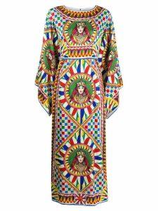Dolce & Gabbana draped sleeve queen printed dress - White