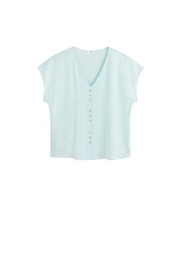 Button linen-blend blouse