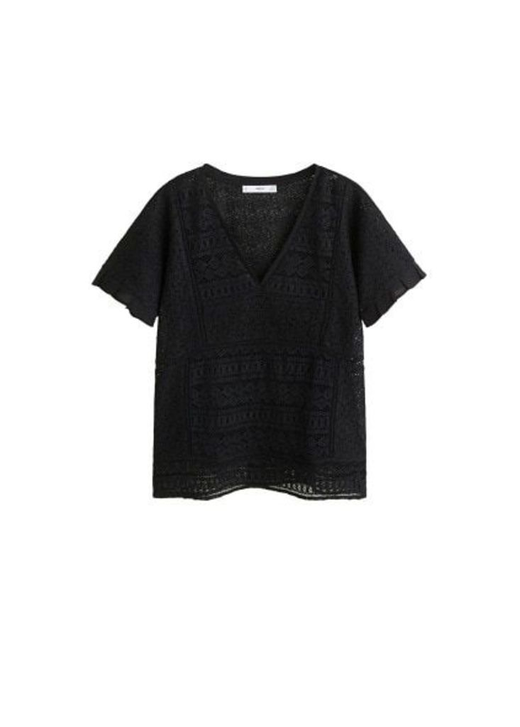 Embroidered openwork blouse