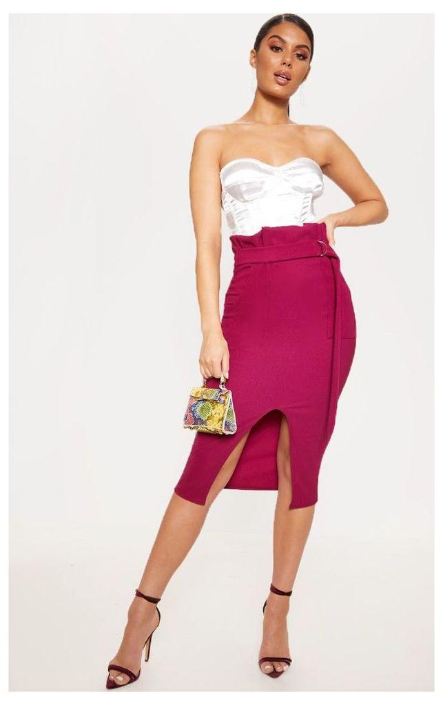Plum Fine Rib Belted Paperbag Midi Skirt, Purple
