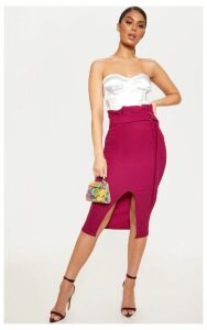 Plum Fine Rib Belted Paperbag Midi Skirt, Purple