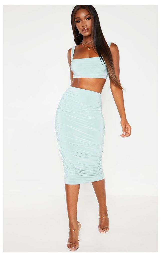 Mint Slinky Second Skin Ruched Midi Skirt, Green