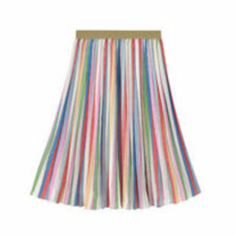 Multi Stripe Pleated Skirt
