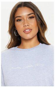 PRETYYLITTLETHING Grey Scribble Slogan Printed Sweater, Grey