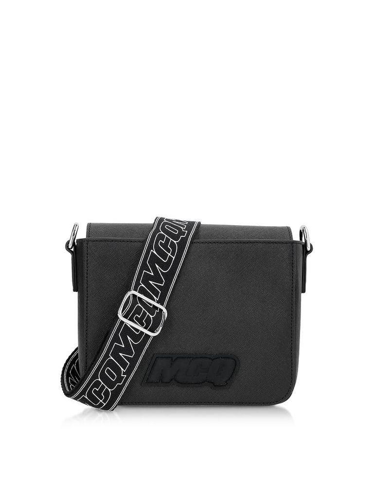 McQ Alexander McQueen Designer Handbags, Black Saffiano Leather Hyper Shoulder Bag