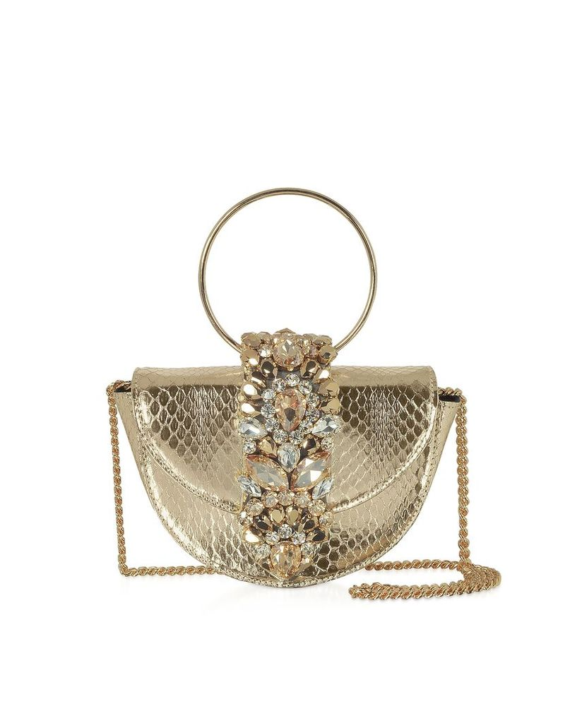 Gedebe Designer Handbags, Mini Brigitte Snake Printed Platinum Clutch