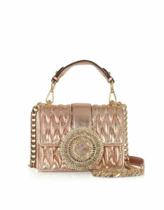 Gedebe Designer Handbags, Gio Small Rose Gold Leather & Crystal Handbag