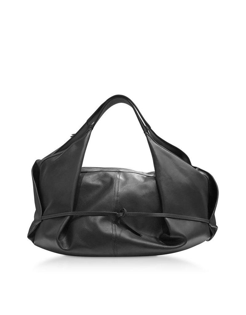 3.1 Phillip Lim Designer Handbags, Black Leather Luna Medium Slouchy Hobo Bag