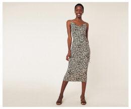 Leopard Cowl Midi Dress