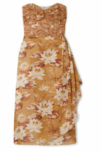 Anna Sui - Draped Floral-print Silk-chiffon And Crepon Dress - Beige
