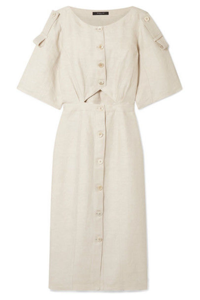 Derek Lam - Cutout Linen-blend Midi Dress - Ivory