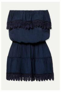 Melissa Odabash - Joy Strapless Crochet-trimmed Voile Mini Dress - Navy