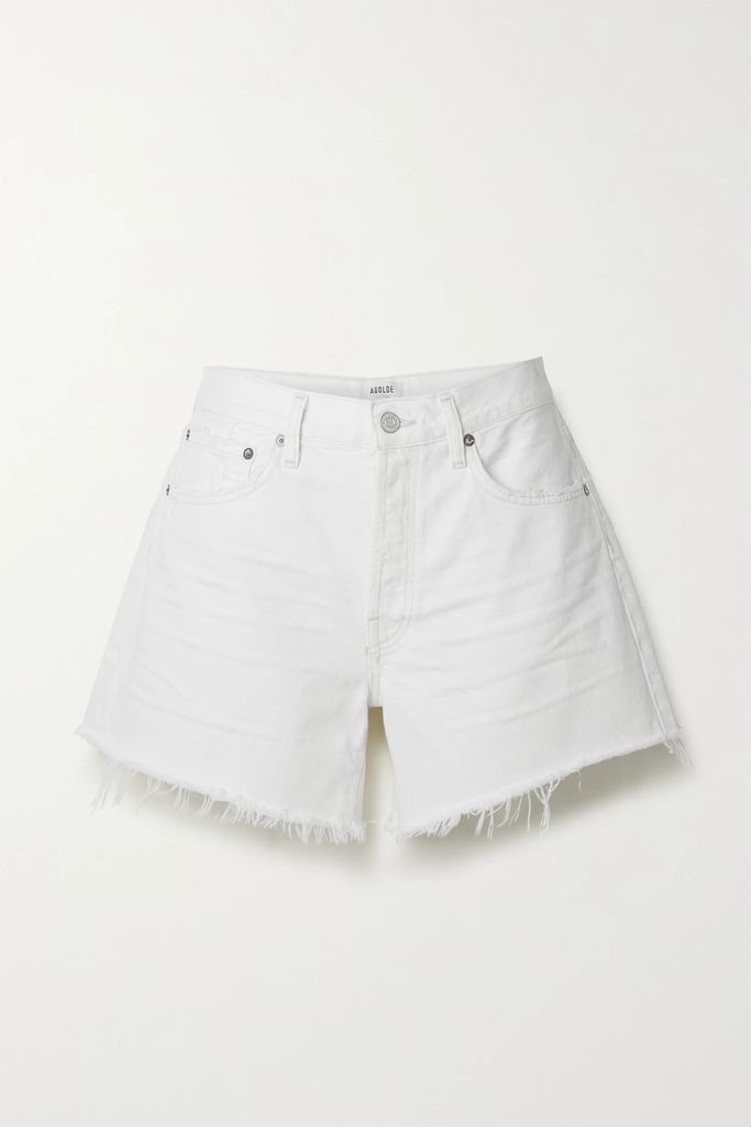 CALVIN KLEIN 205W39NYC - Fringed Distressed Pleated Twill Skirt - Gray
