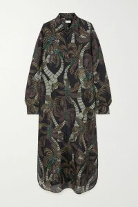 Saloni - Freja Asymmetric Floral-print Devoré-chiffon Midi Skirt - Yellow