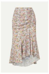 Alice + Olivia - Freida Asymmetric Ruched Floral-print Crepe Midi Skirt - Beige