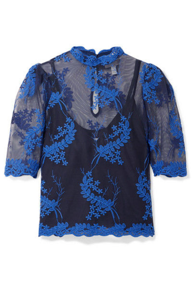 alice McCALL - Honeymoon Embroidered Tulle Top - Blue