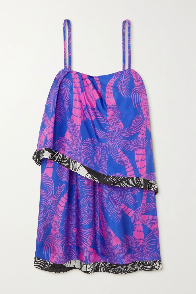 Alice + Olivia - Tonie Tiered Printed Broderie Anglaise Modal Mini Dress - Lilac