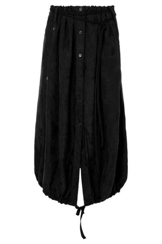 Ann Demeulemeester - Asymmetric Floral Cupro-jacquard Midi Skirt - Black