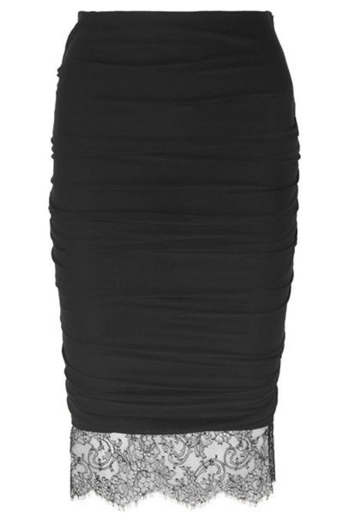 TOM FORD - Lace-trimmed Ruched Stretch-crepe Skirt - Black