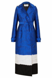 Gabriela Hearst - Ceuta Metallic Striped Cotton-blend Jacquard Trench Coat - Blue