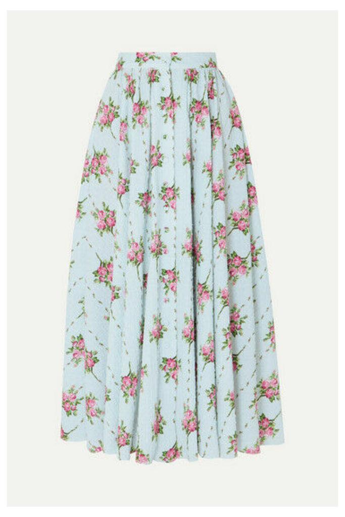 Emilia Wickstead - Floral-print Swiss-dot Cotton-blend Seersucker Midi Skirt - Blue