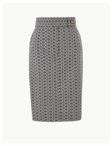 M&S Collection Cotton Rich Geometric Print Pencil Skirt