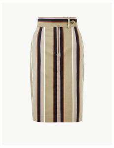M&S Collection Cotton Rich Striped Pencil Skirt